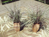 PAIR OF ARTIFICIAL PLANTS IN BUILT-IN RATTAN VASE BASE
