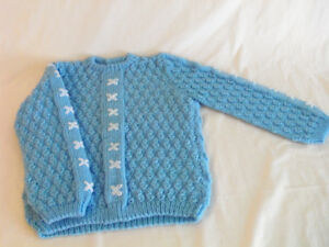 Blue Hand-Knitted Baby Sweater - $15
