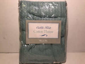 """BRYLANE HOME CABLE KNIT COTTON THROW IN AQUA (50"""" X 70"""") - FJN"""