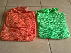 Women's orange and mint green crochet knit crossbody bag purse London Ontario image 1