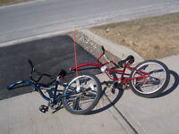 Two trail bikes with hardware