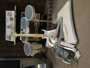 Wii accessories (rock band drums and guitar, wii fit balance