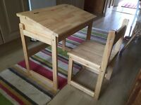 Kids wooden desk & chair