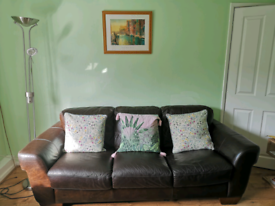 Brown leather 3 seater sofa in excellent condition