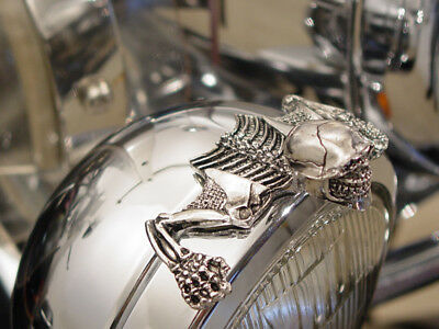 g chrome willie skull ornament 4 inch headlight visor trim Harley softail dyna