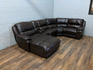 U-shape leather 'Marco' 5-piece sectional. FREE DELIVERY