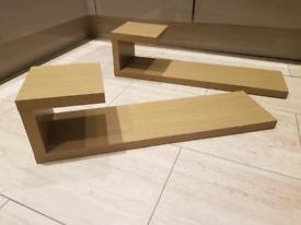 Oak Finish Shelves x 2, length 73cm
