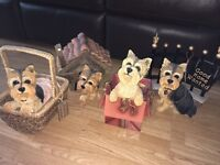 4 large yorkshire terrier china dog ornaments