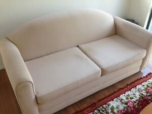 Cream Coloured Fold Out Sofa Bed Sans Souci Rockdale Area Preview