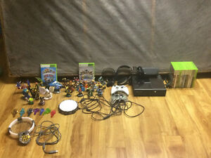 Xbox 360 with games and Skylanders