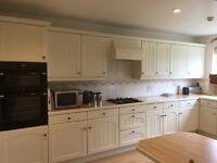 Cream Kitchen Units, Belling Electric Double Oven, Hob, Fridge, Bosch Dishwasher
