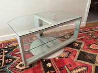 Modern glass and metal, swivel TV stand in excellent condition!!
