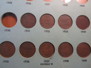 41 Canadian pennies dated 1928 to 1948
