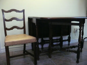 Antique Walnut Gate-leg Table and Chairs