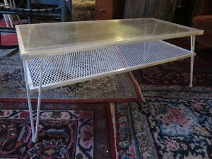 STEEL COFFEE TABLE PAINTED WHITE IN EXCELLENT CONDITION ask