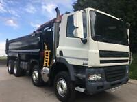 2009 09 DAF CF 85.360 Euro 5 8x4 steel tipper with HMF 1244 crane and grab