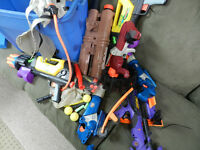 Collection of NERF toys with lots of ammo