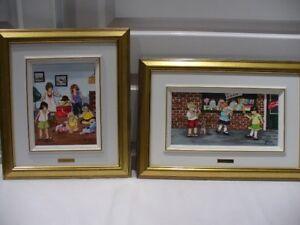 Un cadeau pour Noël 2 peintures acrylique de scène d'enfants.