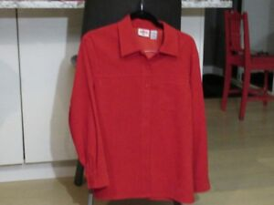 BRIGHT RED WASHABLE SUEDE SHIRT. Ladies size Med/large.