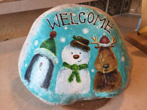 Painted Winter Welcome Rock