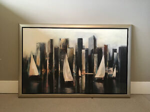 Large Canvas Painting & Lamps