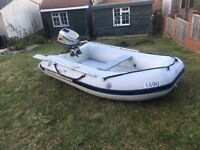 Quicksilver 2.7 Air Deck inflatable boat / dinghy tender - Honda 8hp four stroke outboard engine
