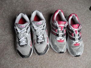 2 Pairs of Size 8 Women's Running Shoes - Adidas/Fila