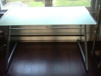 Etched glass desk