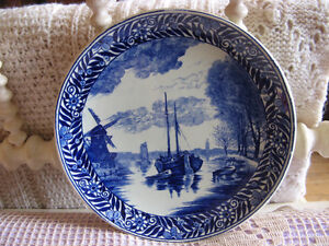 DELFT BOCH CHARGER PLATE WITH SAILBOAT AND WINDMILL