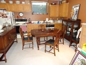 1930s Dining Table, Chairs and Buffet