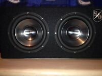 """2 12"""" infinity subs with pioneer amp and boss capacitor"""