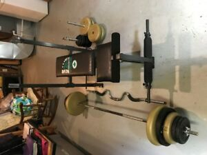 weight bench, bar and weights