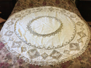 Fine Madeira Lace Tablecloth circa early 1900's