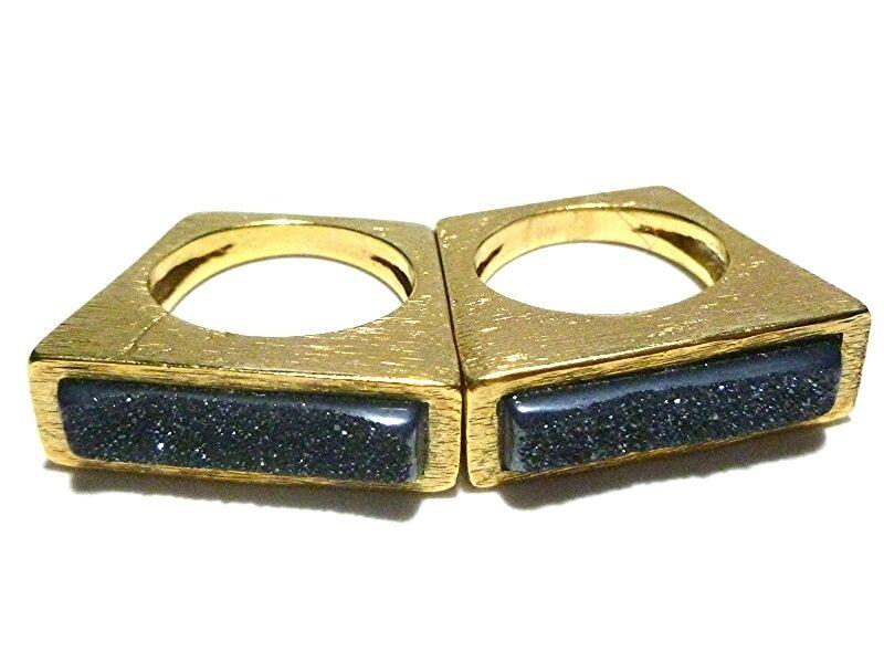 UNIQUE SET GOLD FINISH DRUZY QUARTZ WOMENS STACKING STACKABLE RING BAND SET LOT