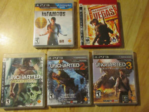 PS3 Playstation 3 Video game Lot UNCHARTED RAINBOW SIX INFAMOUS
