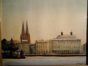 Aquarelle tableau peinture sign fraboulet 86 vue de - Peinture bayonne ...