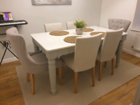 6 seater marble table and chairs with matching side table.