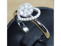 Unusual diamond heart ring, size M, RRP £2550