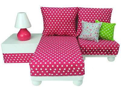 "Lovvbugg Pink Chaise Lounge Chair Sofa Love Seat Set for 18"" American Girl Doll Furniture"