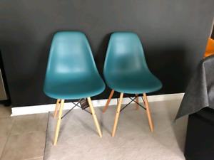 Pair of Teal Eiffel Tower Chairs Brand New