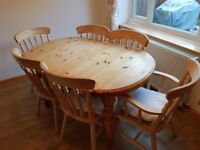 Solid Pine Extendable Dining Table & Chairs