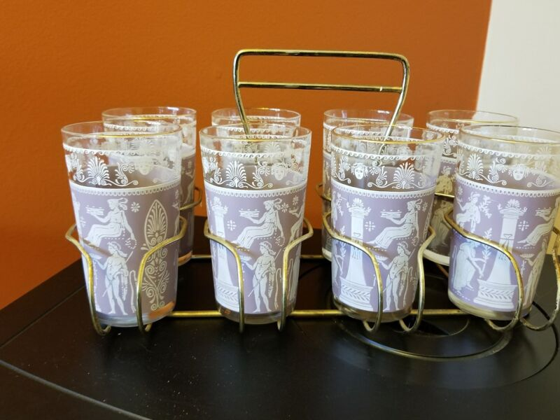 VINTAGE DRINKING GLASSES IN CARRIER ROMAN GRAPHICS LIGHT PURPLE and WHITE