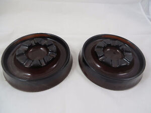 Vintage Brown Amber Glass Round Ashtray Heavy