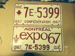 Plaques d'immatriculation / License plates Expo 67+ 76 Olympics