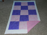 A NEW PINK/PURPLE & WHITE QUILT TO FIT A CRIB