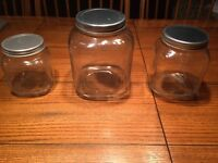 REDUCED.   3 Gorgeous LARGE Glass Jars With Lids - Brand New !