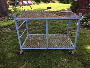 Blue steel cart with casters