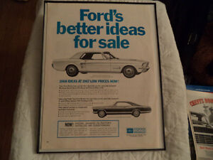 OLD FORD MUSTANG CLASSIC CAR FRAMED ADs man cave Windsor Region Ontario image 2