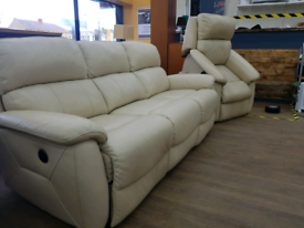 Leather 3 seater electric recliner and Electric rise and recline Armch