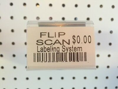 100 Pack 1.25 X 2 Inch Label Holder For Flip Scan Pegboard Hooks. Made In Usa